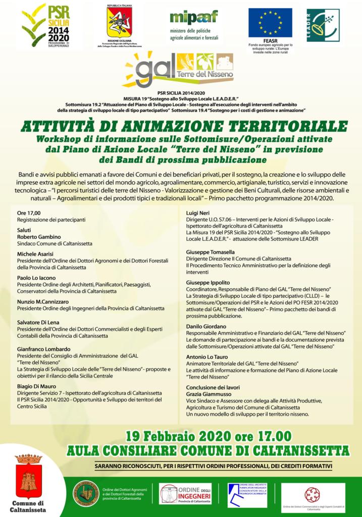 Locandina workshop di animazione territoriali a Caltanissetta